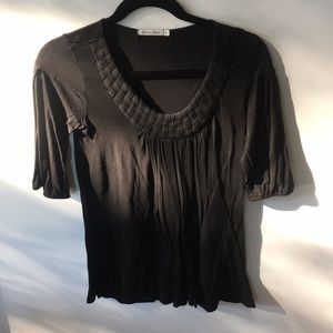 Black top with woven detail